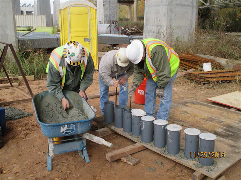 Making concrete test cylinders