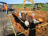 Building forms and installing rebar for a footing