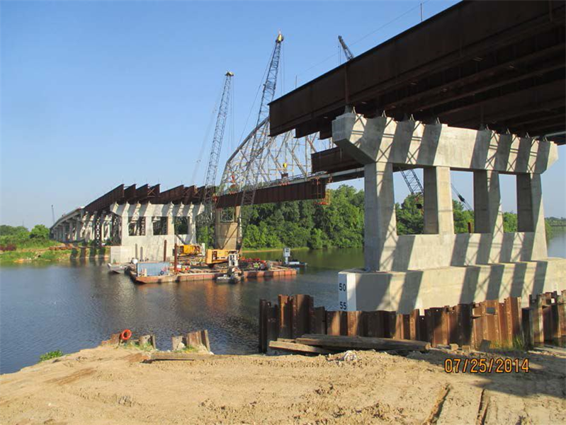 First steel girders to be installed all the way across the Red River