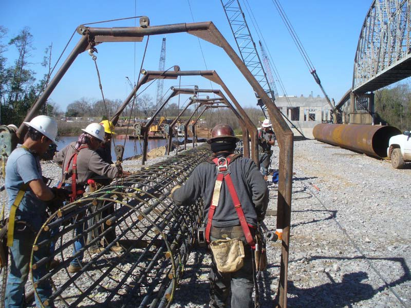 Tying rebar for test drill shaft(March 2013)