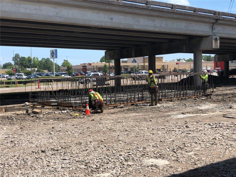 Preparing rebar for new footing May 2020