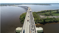 Aerial of the I-210 Prien Lake Bridge after the  removal of the main span on the eastbound bridge. (Source: Kiewit)