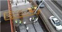 Deck pour on the I-210 eastbound bridge during phase 2 of the repair project.