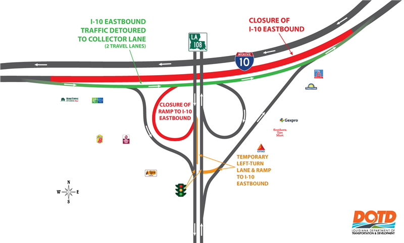 I-10 eastbound traffic shift and ramp closure at the LA 108 interchange (Exit 23).