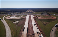 I-20/I-220/BAFB Interchange under construction, Feb. 2021.