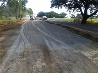 Placing Cement in preparation for cutting into the subgrade layer