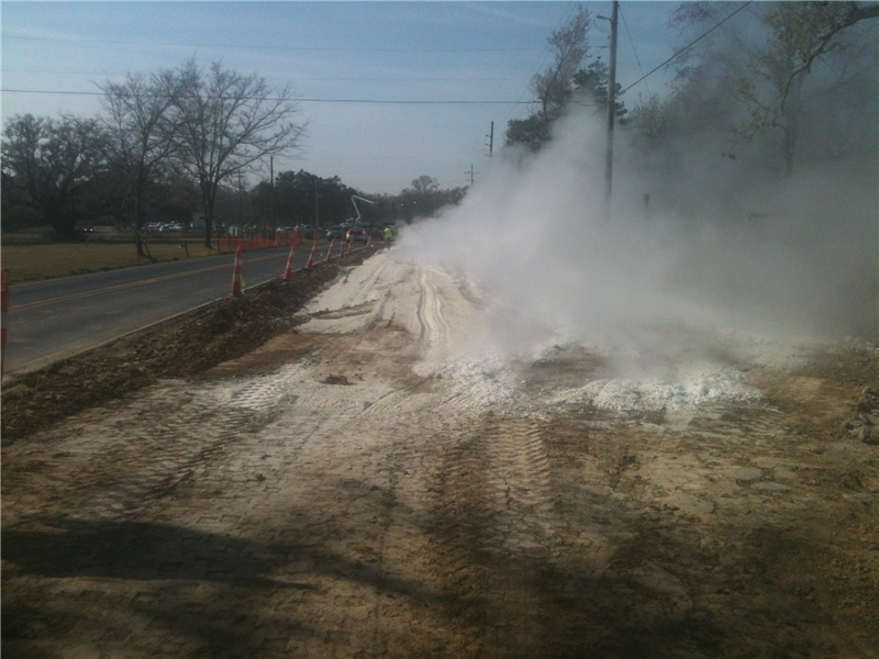 Mixing the soil, lime and water creates a chemical reaction. This mixture makes for a stronger roadbase. March 2013