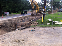 Crews working on sewer lines at Post Office Road