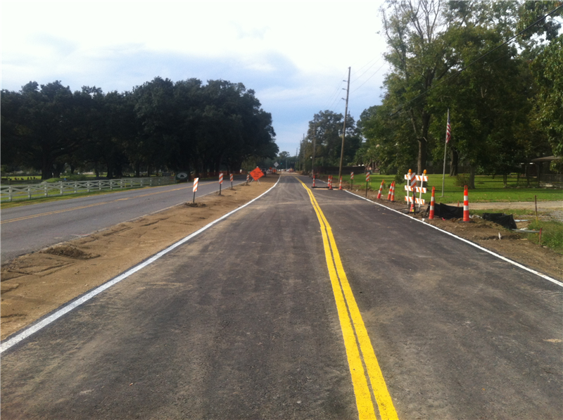 LA 73 Detour asphalt in order for crews to install the new sewer line in the old roadway