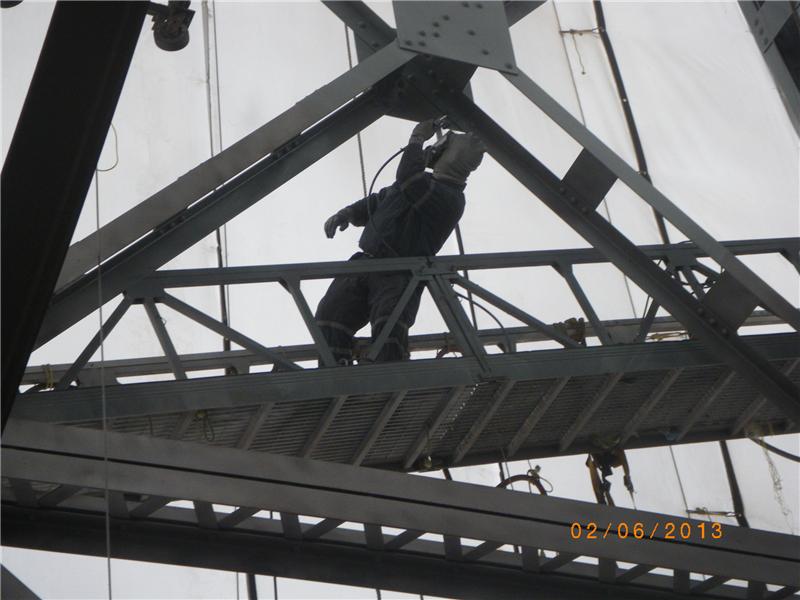 Painting the bridge girders