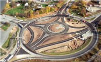 Shows the smaller roundabout inside traffic circle. The modern roundabouts are much smaller and more convenient than the larger traffic circles of the past.