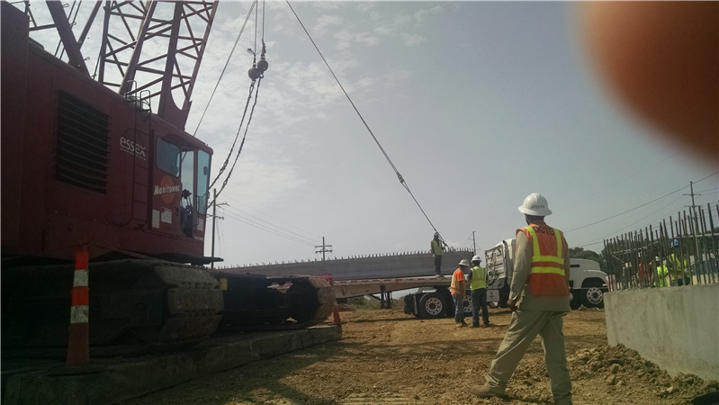 Delivery of new girders for new bridges over Baker Canal