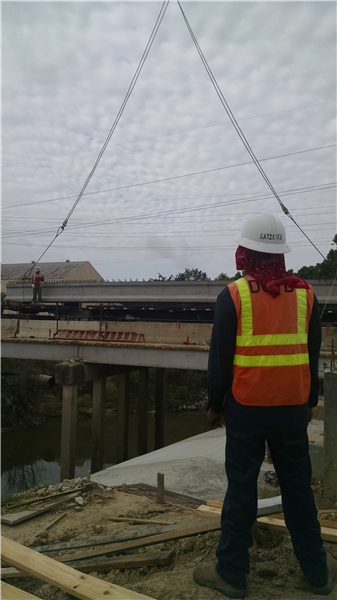 DOTD inspects installation of new girders on US 61 SB over Baker Canal in East Baton Rouge Parish